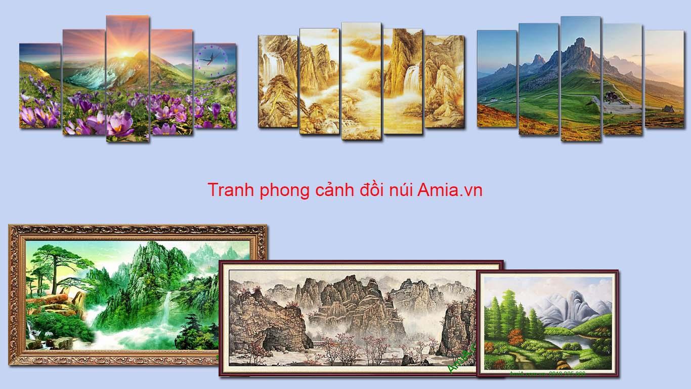 tranh treo tuong phong khach theo phong thuy doi nui