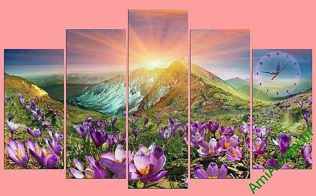 tranh khach san phong canh doi hoa duoi anh binh minh