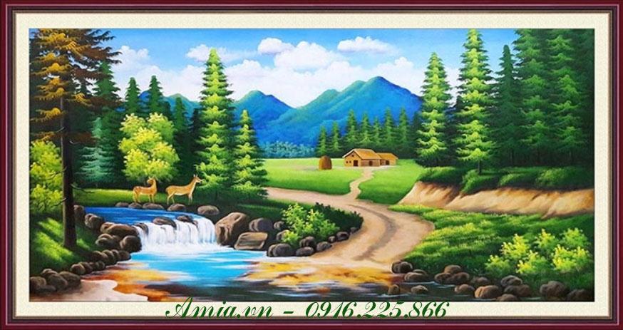 tranh treo khach san khu rung chau au ve son dau