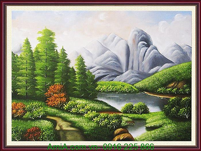 tranh son dau phong canh doi nui kho mot tam