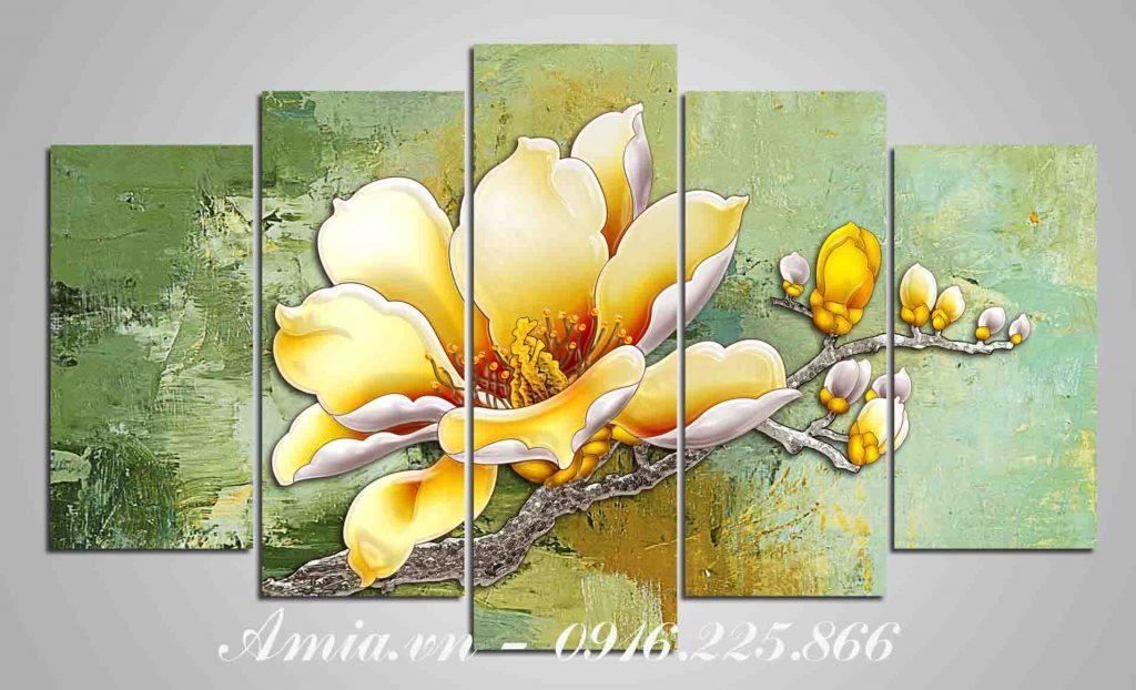 tranh bong hoa moc lan treo khach san ghep bo