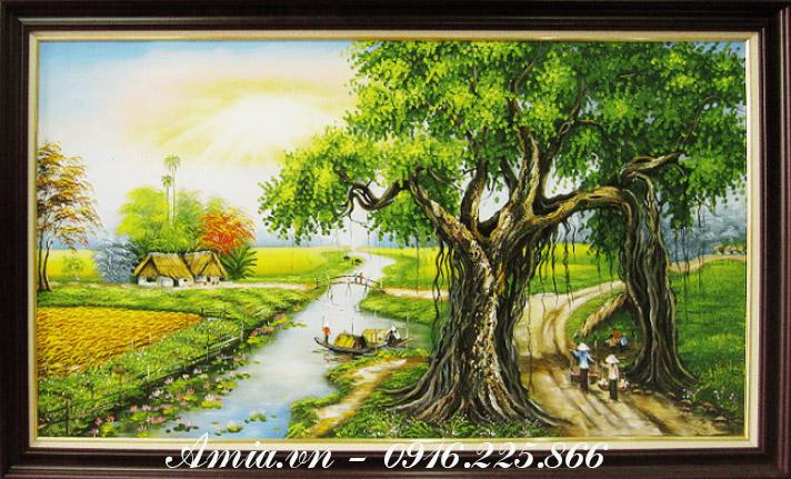 tranh treo dai sanh khach san cay da que huong