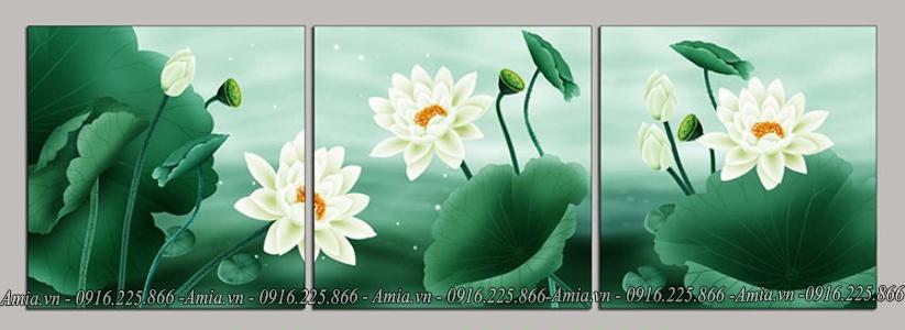 tranh hoa sen trang phong khach cho nguoi menh kim