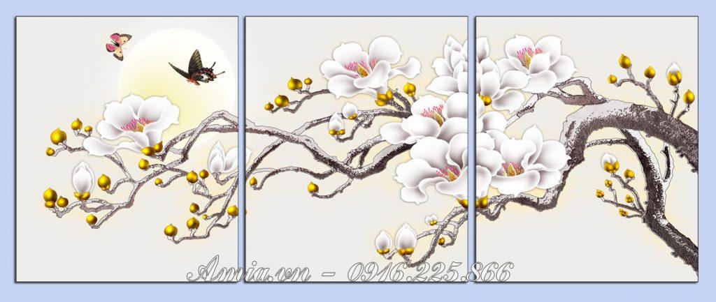 tranh khach san nhanh hoa moc lan