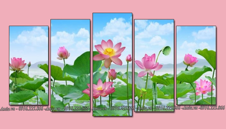 tranh phong canh hoa sen dep ghep bo