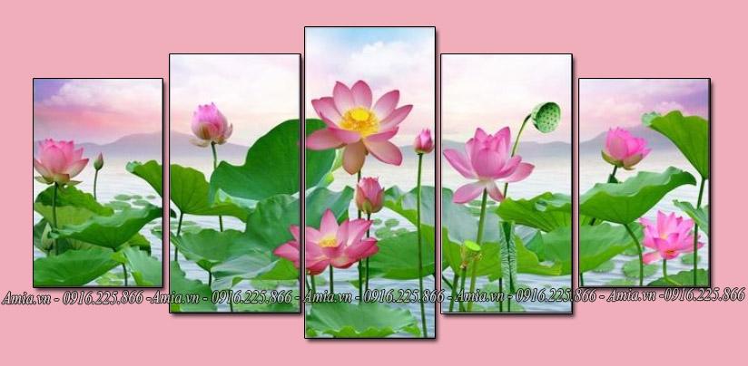 tranh treo tuong phong canh hoa sen ghep bo