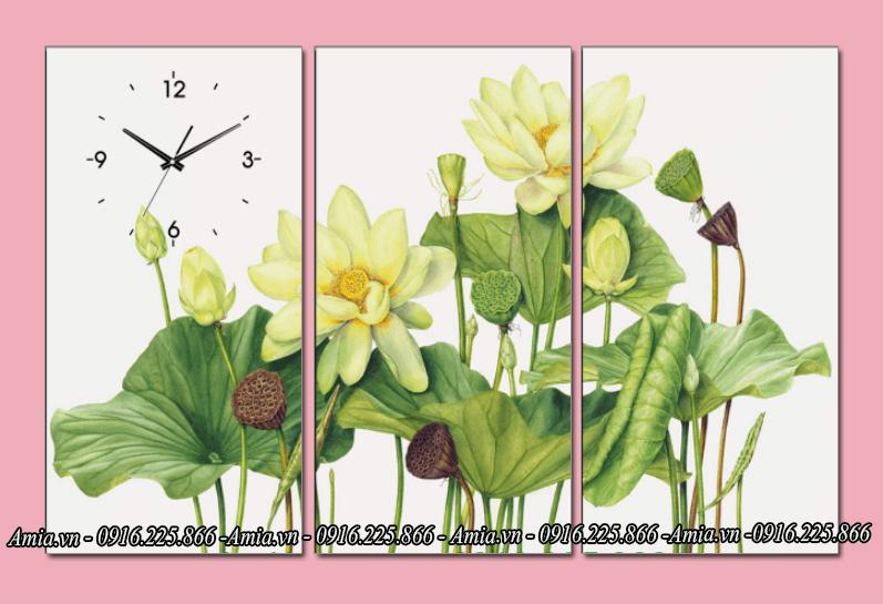 tranh dep treo phong khach gia re hoa sen