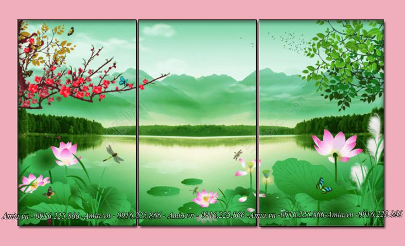 tranh treo phong khach gia re dam hoa sen
