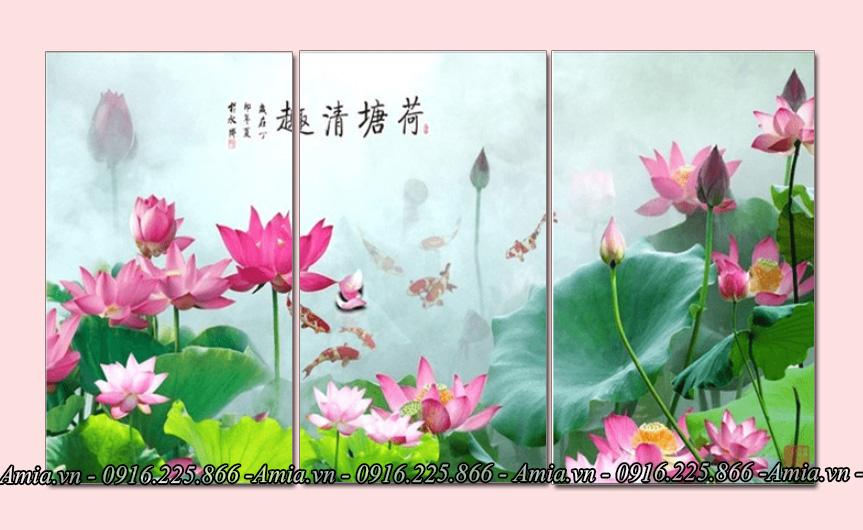 tranh phong canh hoa sen phong thuy treo phong khach
