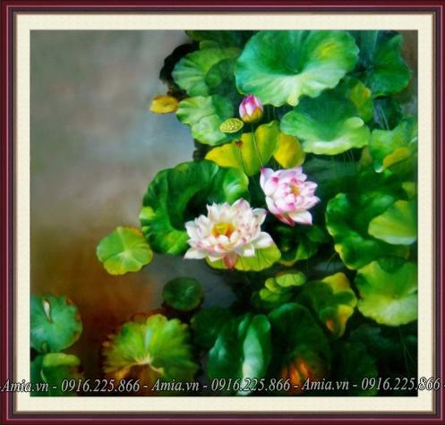tranh phong canh hoa sen trong ho