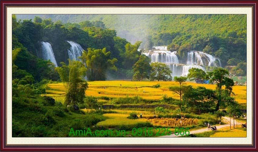 tranh khach san phong canh thac nuoc vung cao