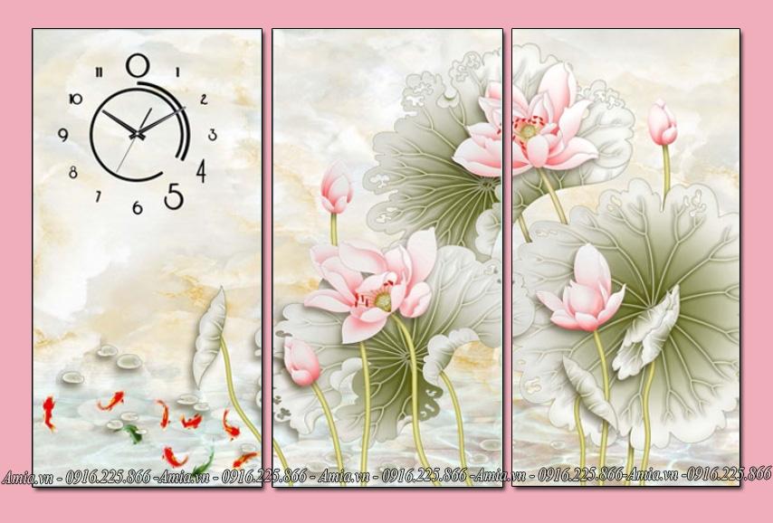 tranh hoa sen nghe thuạt treo phong khach