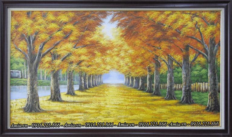 tranh phong canh son dau con duong han quoc vao mua thu