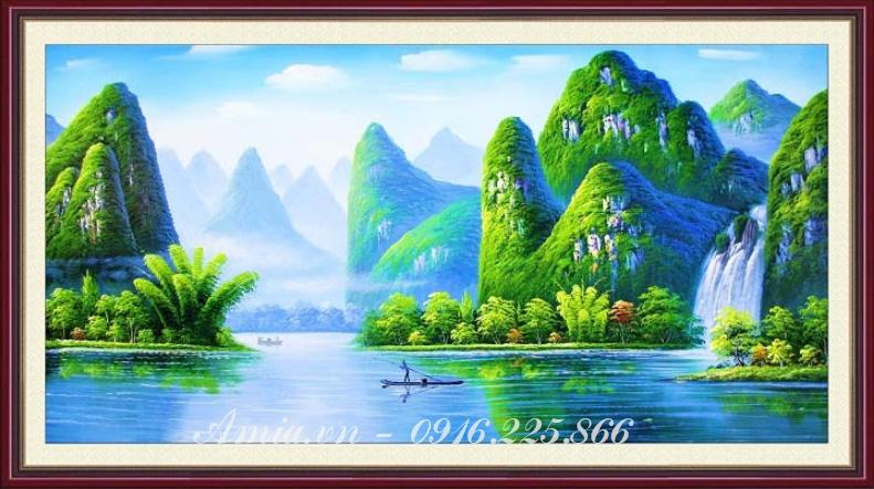 tranh treo phong khach phong canh song nui cho nguoi tuoi suu