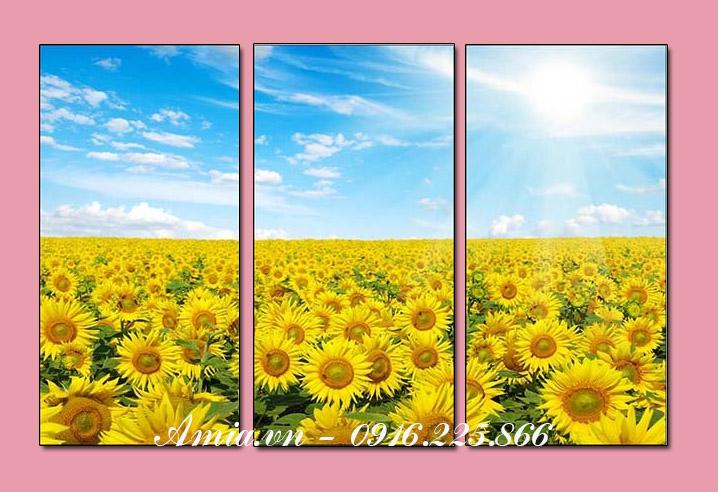 tranh treo phong khach canh dong hoa huong duong