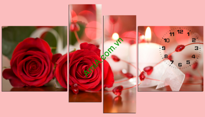 tranh treo phong ngu khach san hoa hong nhung