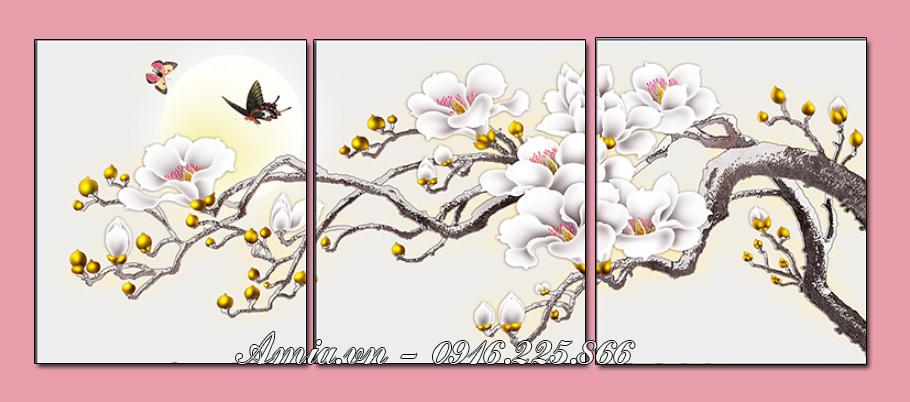 tranh treo phong khach nhanh hoa moc lan