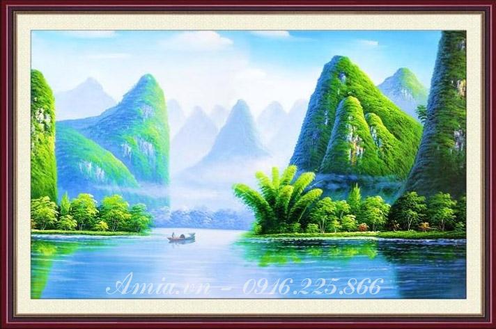 tranh khach san dong song que huong