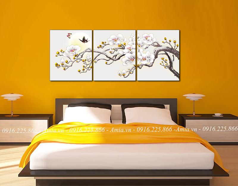 tranh treo phong ngủ hoa mộc lan ghép bộ
