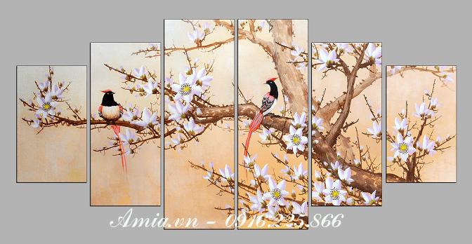 tranh treo tuong phong khach kho lon doi chim