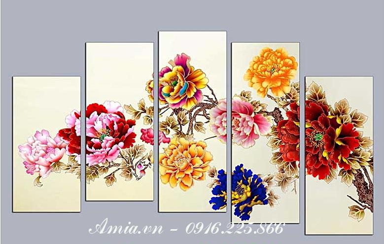 tranh treo tuong phong khach hop phong thuy hoa mau don