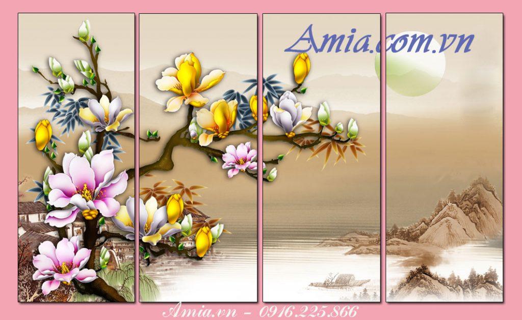 tranh treo tuong phong khach 3d nhanh hoa moc lan