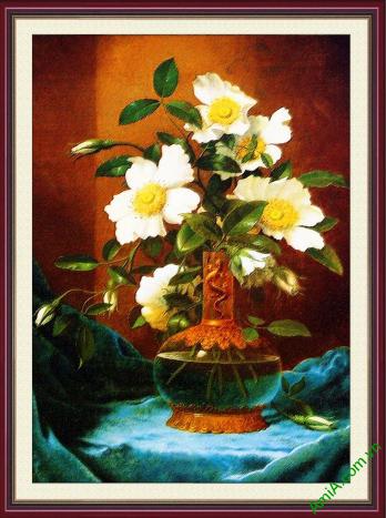 tranh treo tuong binh hoa trang vintage