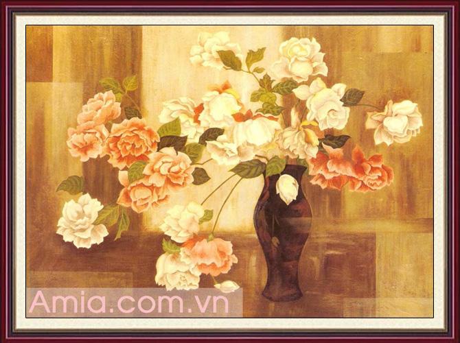 tranh treo tuong vintage binh hoa hong co dien tao su sang trong