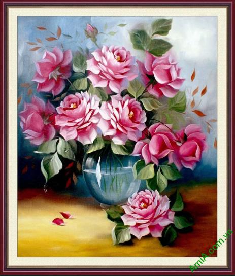 tranh binh hoa hong treo phong ngu khach san