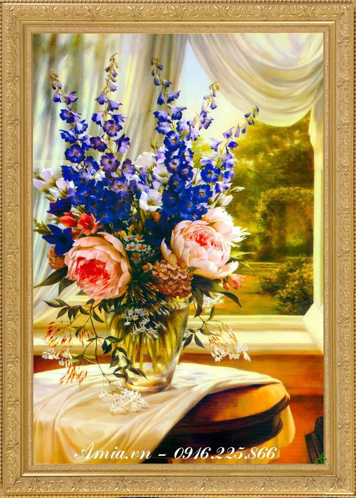 tranh binh hoa violet tim phong cach vintage