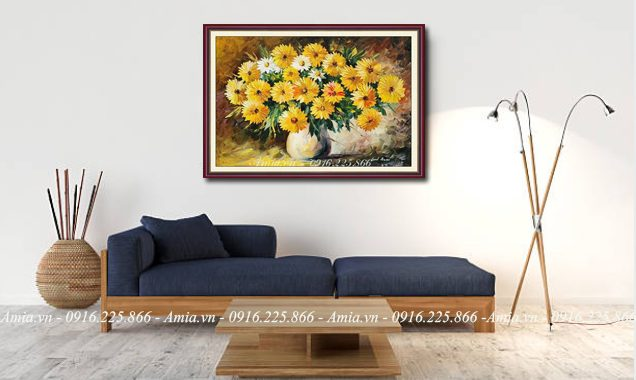 tranh phong cach vintage binh hoa cuc