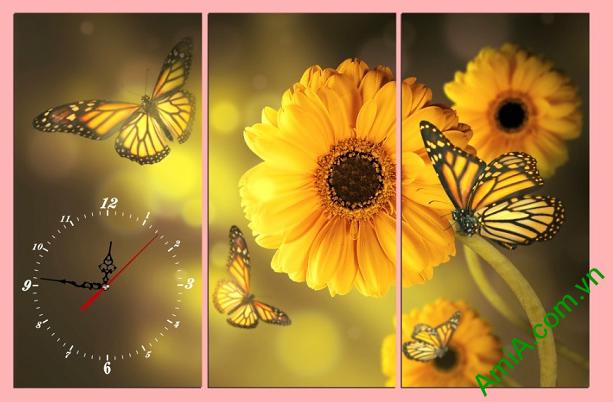 tranh hoa cuc va chu buom phong cach vintage