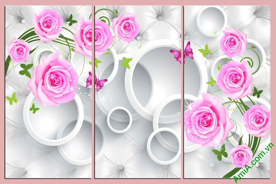 tranh treo tuong phong khach 3d hoa hong