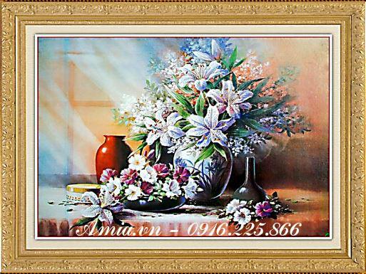 tranh phong cach vintage binh hoa ly