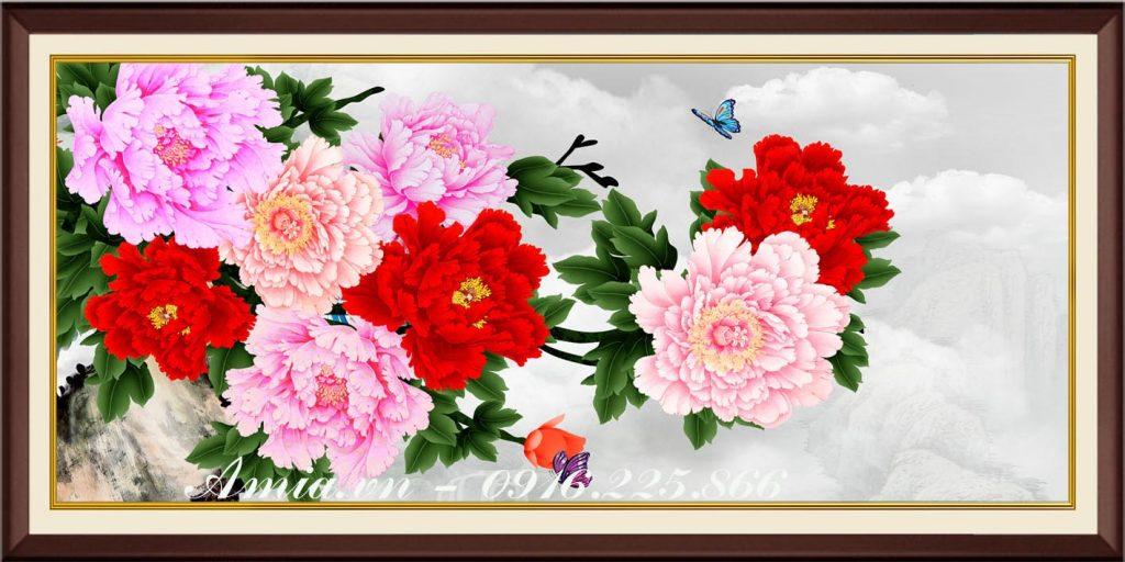 tranh hoa mau don treo tuong phong khach kho lon