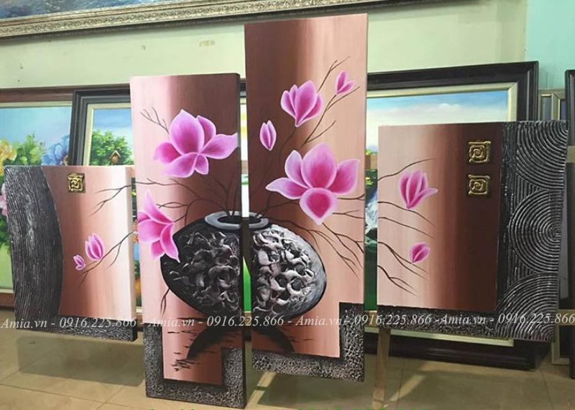 tranh noi treo phong khach hoa sen dat ghep bo