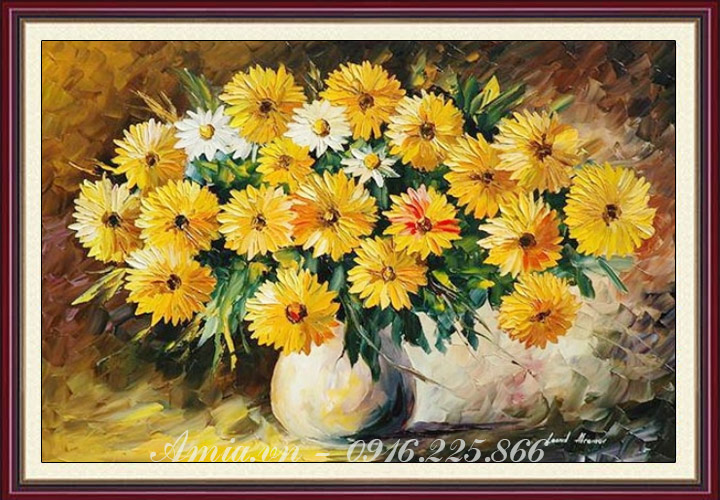 mua tranh treo phong khach binh hoa cuc vang