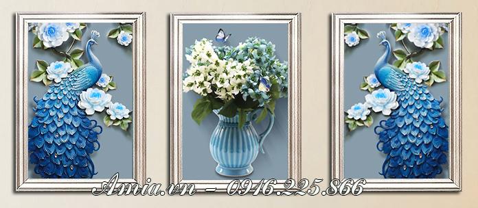 tranh treo tuong binh hoa quy toc mang gam mau xanh