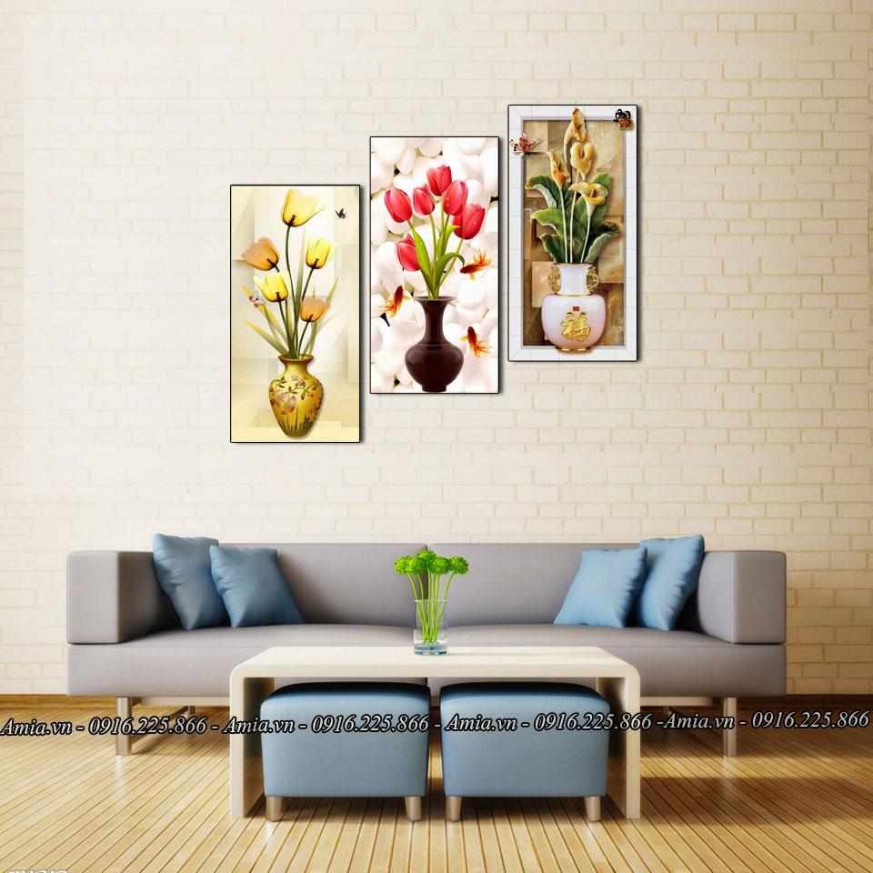 tranh treo phong khach binh hoa quy toc