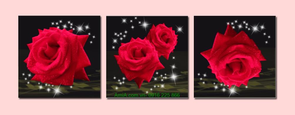 tranh treo phong ngu hoa hong do cho khach san