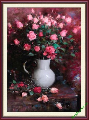 tranh phong cach vintage binh hoa hong phot