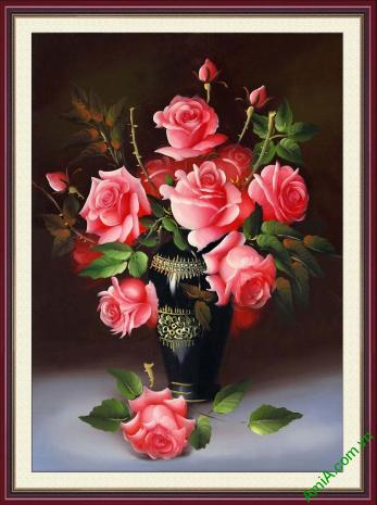 tranh phong cach vintage binh hoa hong