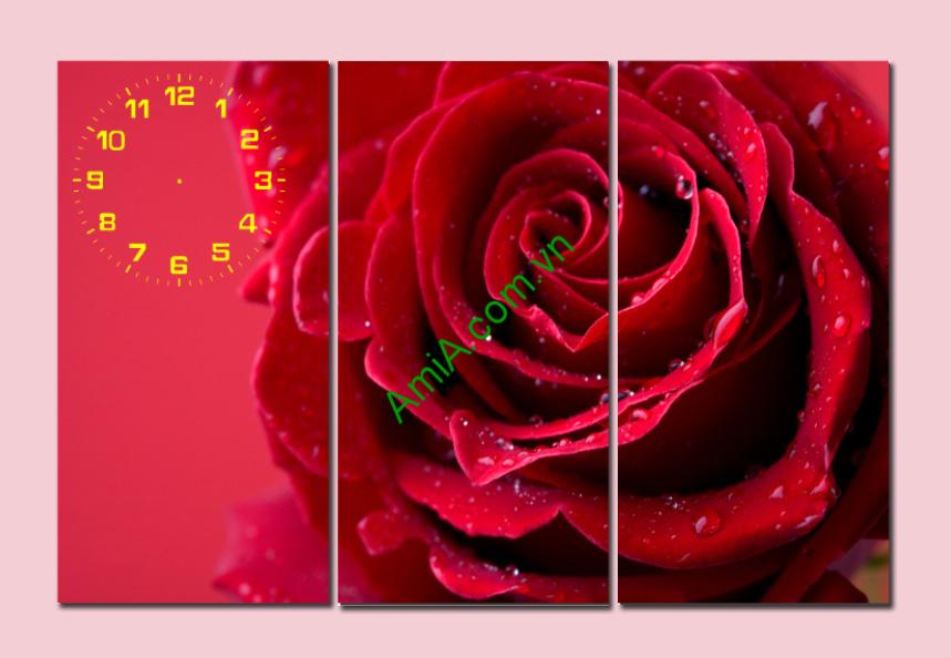 tranh hoa hong treo phong ngu vo chong