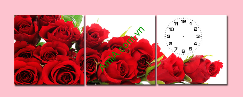 tranh treo phong ngu ghep 3 tam hoa hong