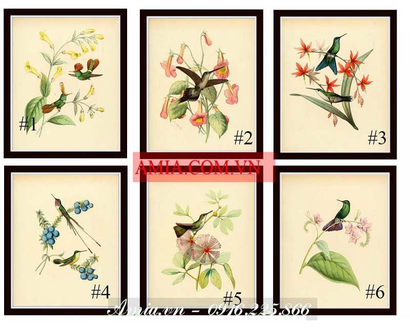 tranh nhung chu chim ben nhanh hoa phong cach vintage