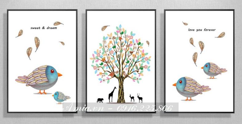 tranh doi chim treo phong ngu tre em