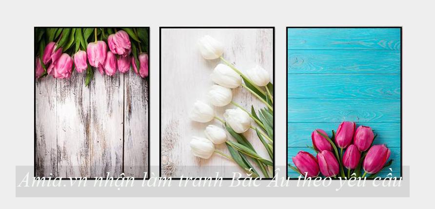 tranh treo tuong phong khach bac au hoa tulip