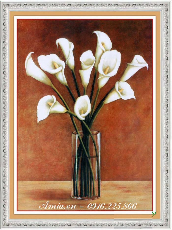 tranh phong cach vintage binh hoa zum trang