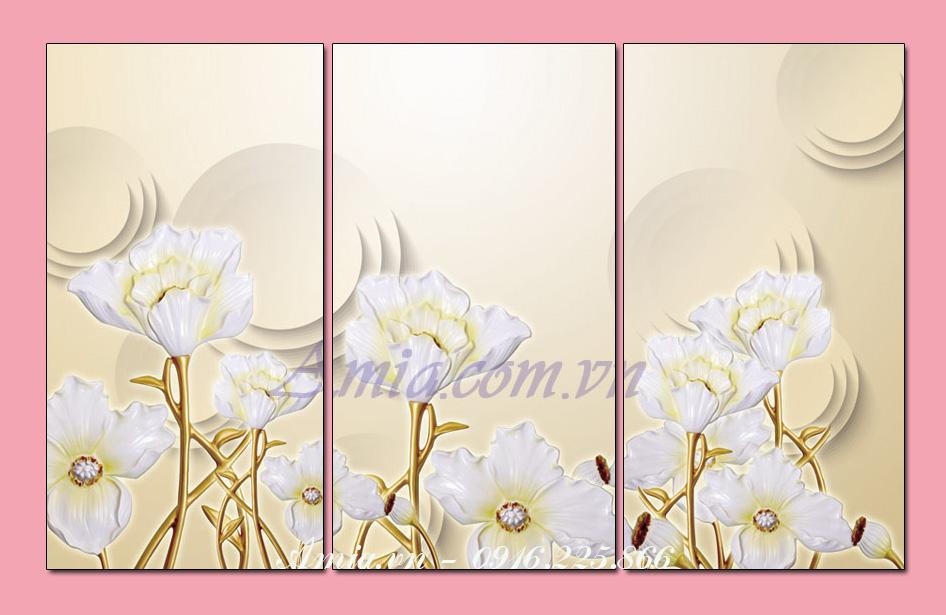 tranh 3d treo phong ngu nhung bong hoa trang