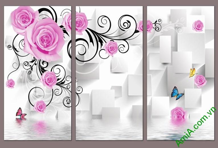 tranh 3d treo phong ngu hoa hong bo 3 tam